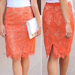 Alice + Olivia | Lace Orange Pencil Skirt
